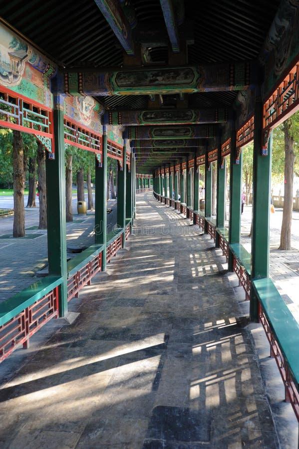 Le long couloir au palais d'été Pékin photos stock