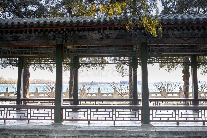 Le long couloir dans le palais d'été, Pékin photo libre de droits
