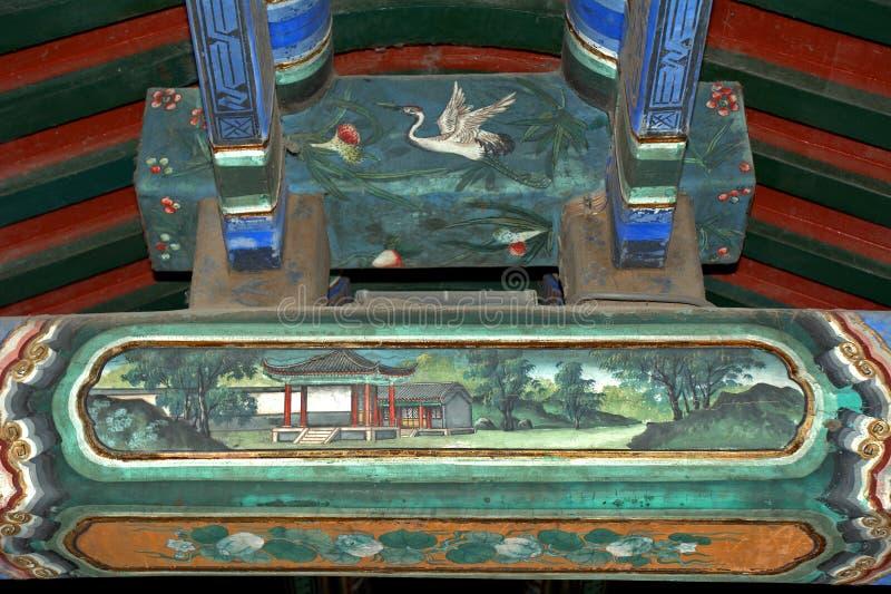 Le long couloir dans le palais d'été, Pékin, Chine images libres de droits