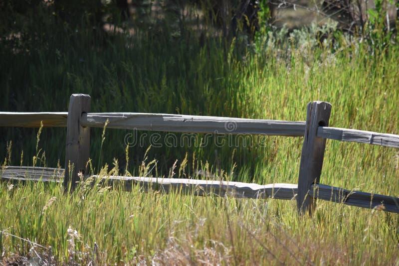 Le long de la vieille barrière en bois de barrière photo libre de droits