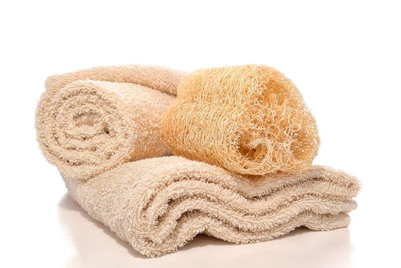 Le Loofah normal frottent l'éponge et les essuie-main mous de coton image libre de droits