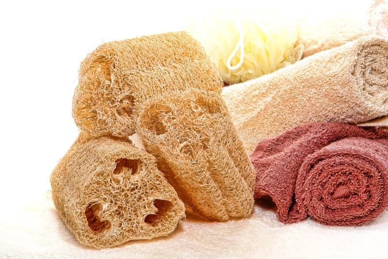 Le Loofah normal frottent l'éponge et les essuie-main mous de coton images libres de droits
