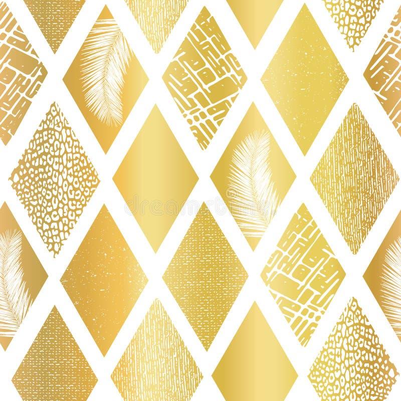 Le losange de collage de feuille d'or forme le modèle sans couture de vecteur Formes texturisées géométriques de fond contemporai illustration stock