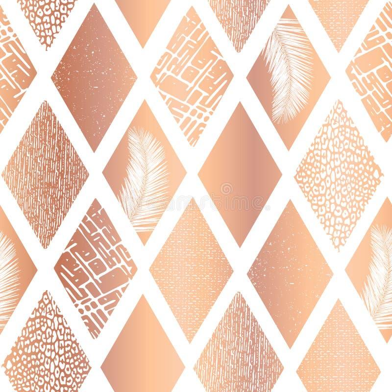 Le losange de cuivre de collage d'aluminium forme le modèle sans couture de vecteur Le contemporain s'est levé fond d'or de résum illustration libre de droits