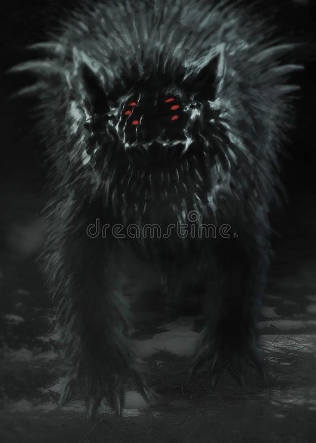 Le loup étranger émerge de la forêt foncée et ouvre sa bouche illustration libre de droits