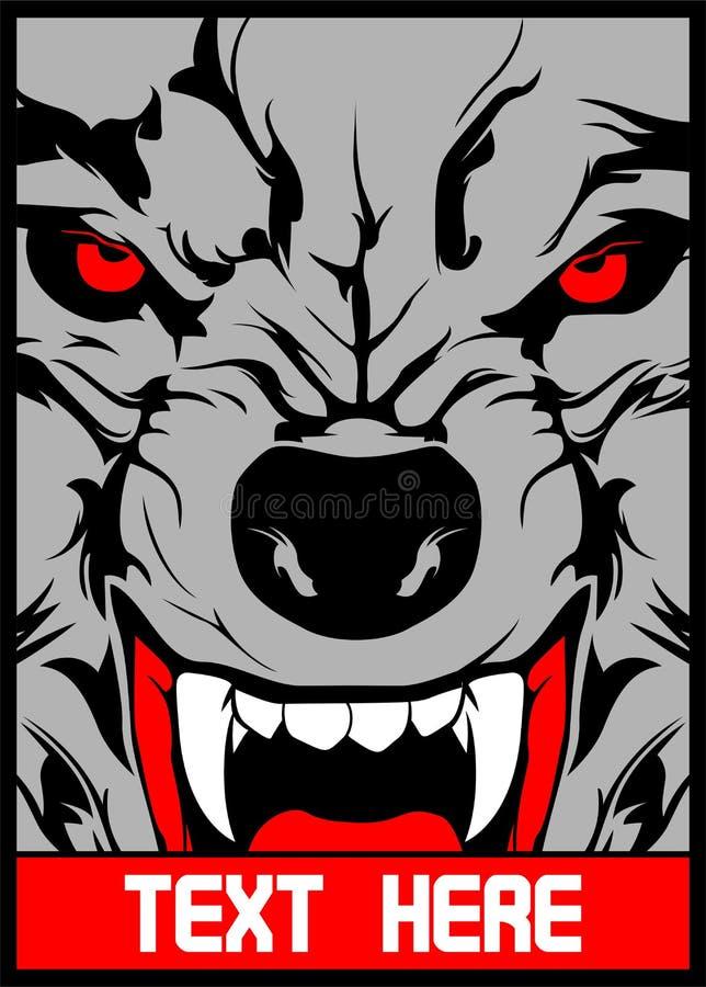 Le loup de vecteur avec les dents aigu?s remettent le dessin illustration libre de droits