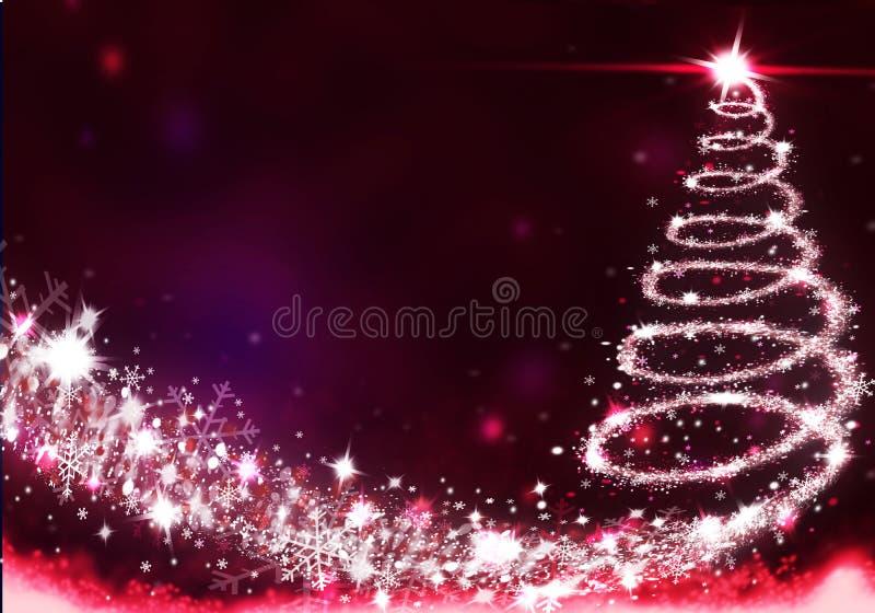 Le luci dell'albero di Natale si sono formate dall'illustrazione del fondo di natale della neve del fondo delle stelle illustrazione vettoriale