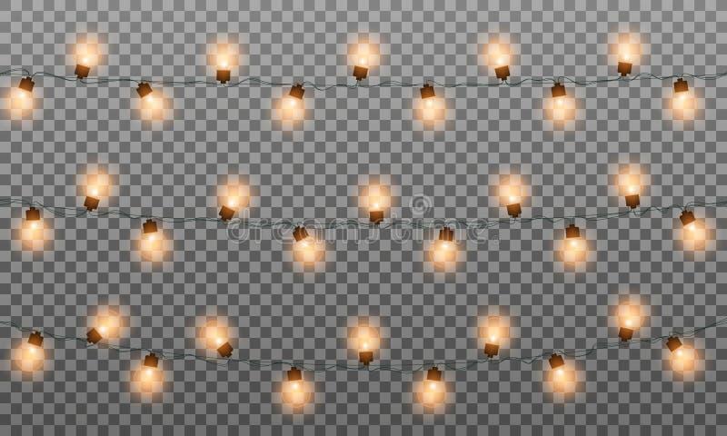 Le luci di Natale hanno isolato le ghirlande La corda realistica accende la ghirlanda per il nuovo anno ed il natale Vettore isol illustrazione vettoriale