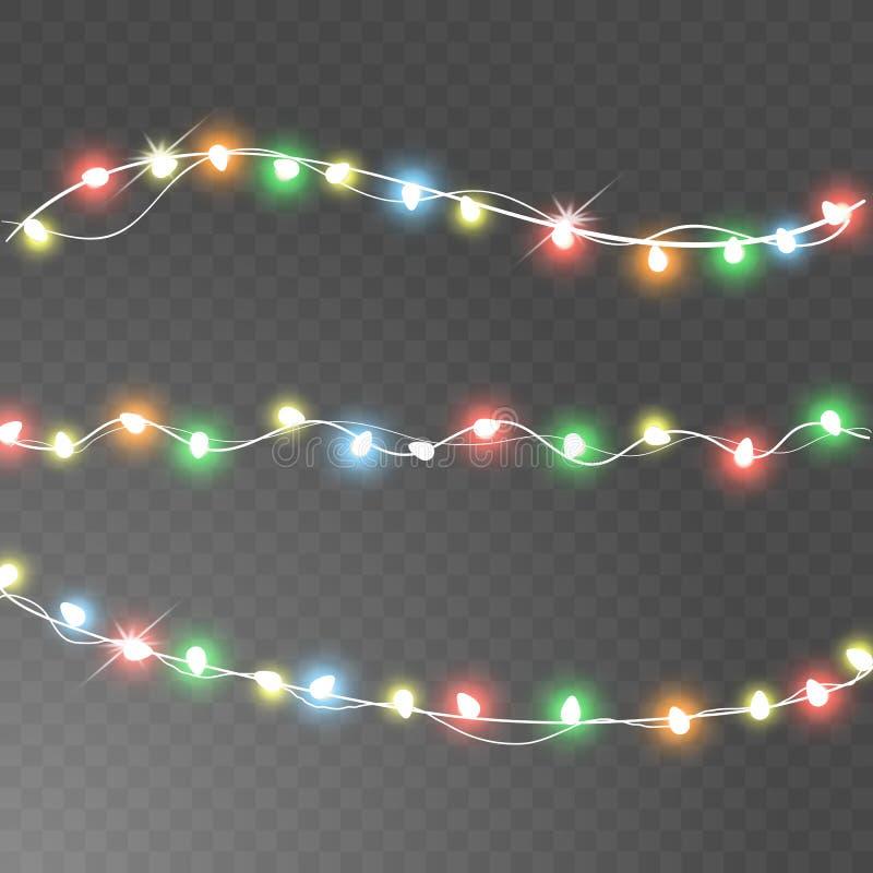 Le luci di Natale hanno isolato gli elementi realistici di progettazione Le luci d'ardore per la cartolina d'auguri di festa di n illustrazione vettoriale