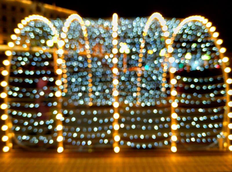 Le luci hanno offuscato il fondo del bokeh Tempo di natale fotografia stock