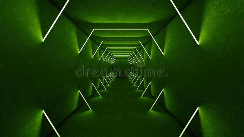 Le luci verde interne 3d del night-club rendono per la manifestazione del laser Linee verde d'ardore Priorit? bassa verde fluores illustrazione vettoriale