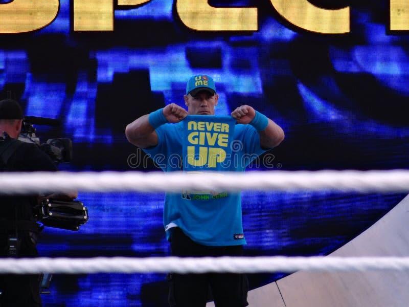 Le lutteur John Cena de WWE tient dire de serviette image stock