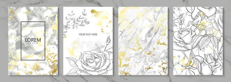 Le luxe carde la collection avec la texture d'or de marbre et les fleurs tirées par la main Fond à la mode de vecteur Ensemble mo illustration stock