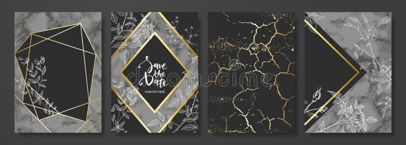 Le luxe carde la collection avec la texture de marbre, les fleurs tirées par la main et la forme géométrique d'or Fond à la mode  illustration de vecteur