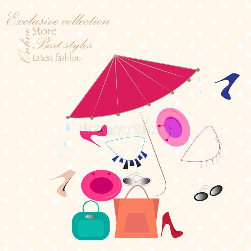 Le luxe de vente au détail de mode de publicité d'affiche d'achats stigmatise des accessoires de talons de chaussures de sacs illustration de vecteur