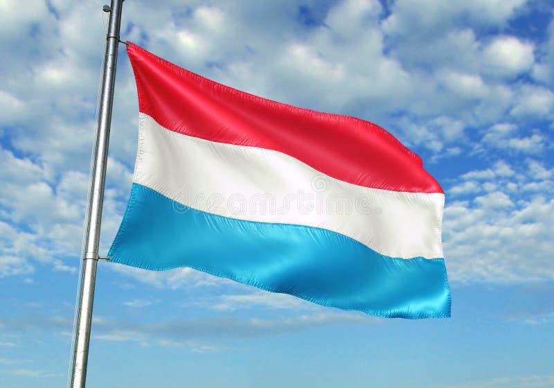 Le Luxembourg marquent l'ondulation avec le ciel sur l'illustration 3d réaliste de fond illustration stock