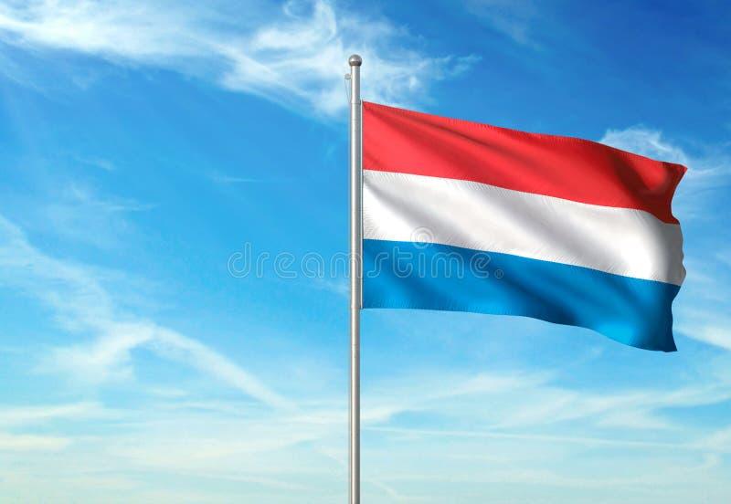 Le Luxembourg marquent l'ondulation avec le ciel sur l'illustration 3d réaliste de fond illustration de vecteur