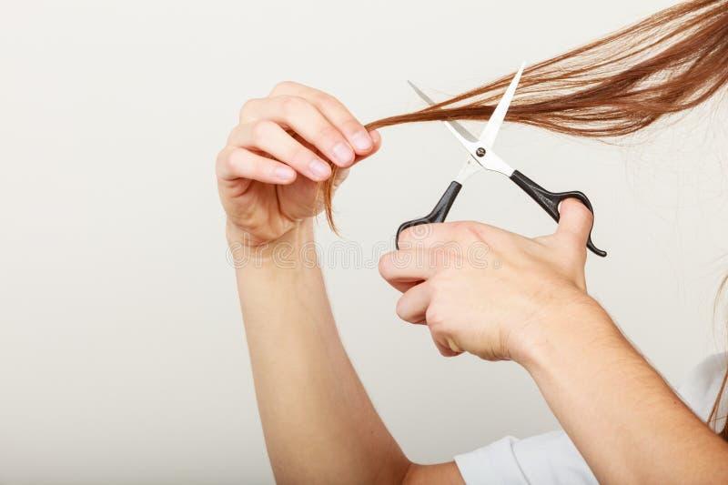 Download Le Mâle Remet Couper De Longs Cheveux Image stock - Image du mâle, mains: 77162185