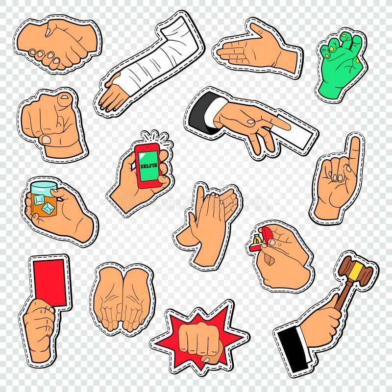 Le mâle remet des autocollants de signes Faire des gestes de bras d'homme Poignée de main, poing, applaudissements illustration libre de droits