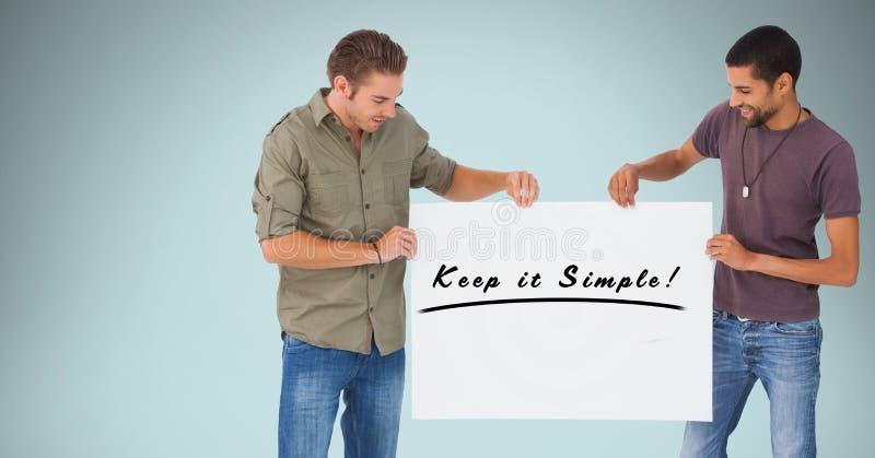 Le män som rymmer affischtavlan med uppehället det enkel text mot blå bakgrund royaltyfri bild
