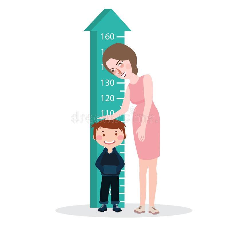 Le mètre de règle de femme de mère de taille d'enfant d'enfant de mesure élèvent polychrome sain illustration libre de droits