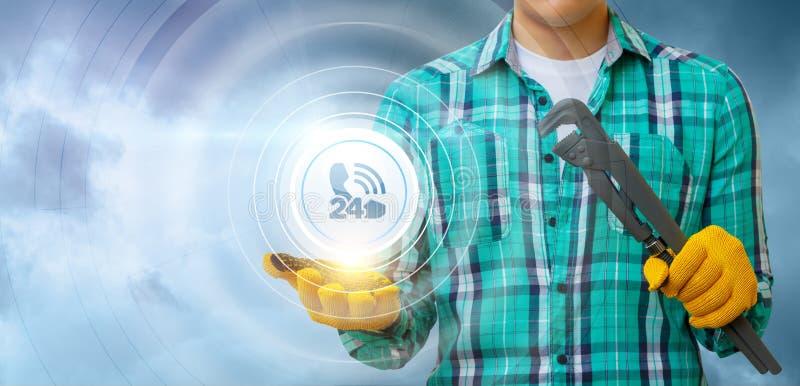 Le mécanicien montre l'icône du service client photos stock