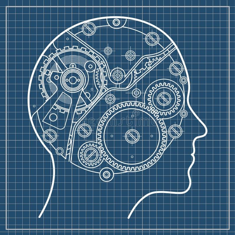 Le mécanisme de la pensée humaine Il est dépeint sous forme de mécanisme d'horloge avec des vitesses et des vis localisées à l'in illustration de vecteur