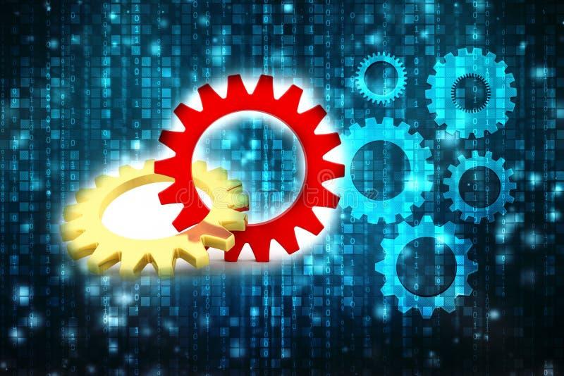 Le mécanisme de vitesse, le concept de travail d'équipe, 3D embraye le fonctionnement dans l'équipe 3d rendent illustration libre de droits
