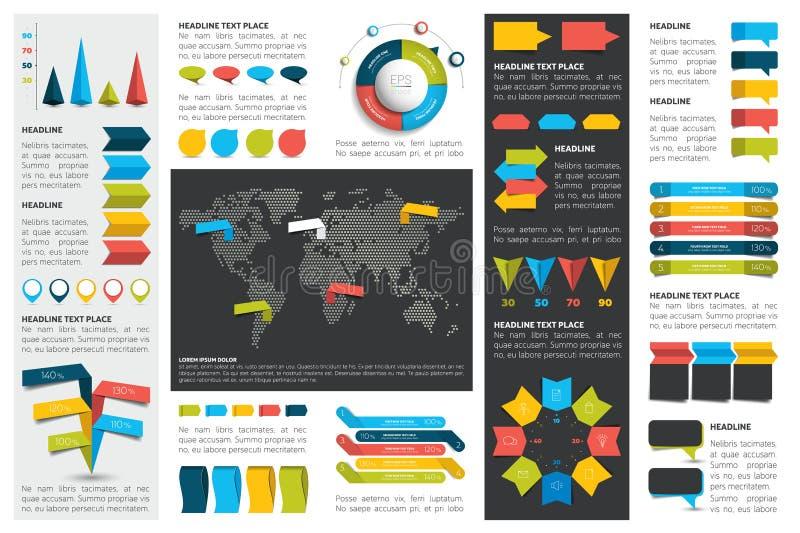 Le méga a placé des diagrammes d'éléments d'infographics, graphiques, diagrammes de cercle, diagrammes, bulles de la parole Appar illustration stock