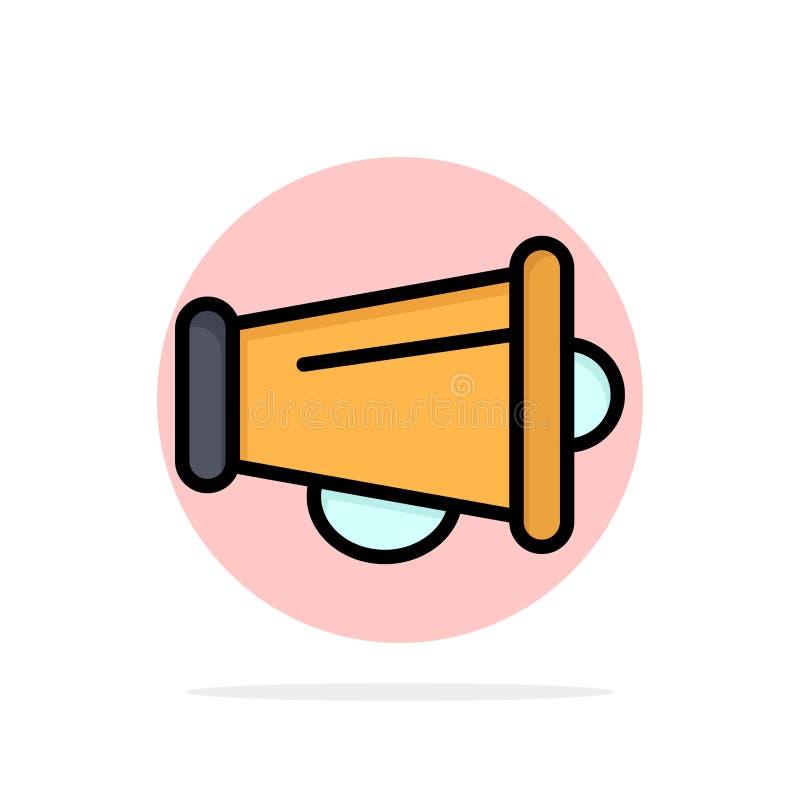 Le mégaphone, annoncent, vente, icône plate de couleur de fond de cercle d'abrégé sur haut-parleur illustration libre de droits