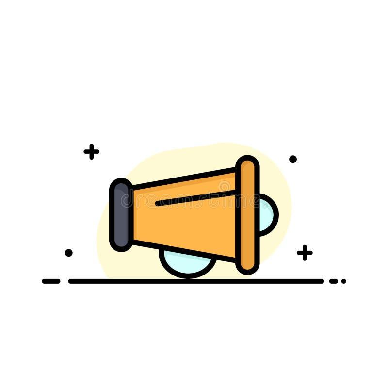 Le mégaphone, annoncent, vente, ligne plate calibre rempli d'affaires de haut-parleur de bannière de vecteur d'icône illustration stock