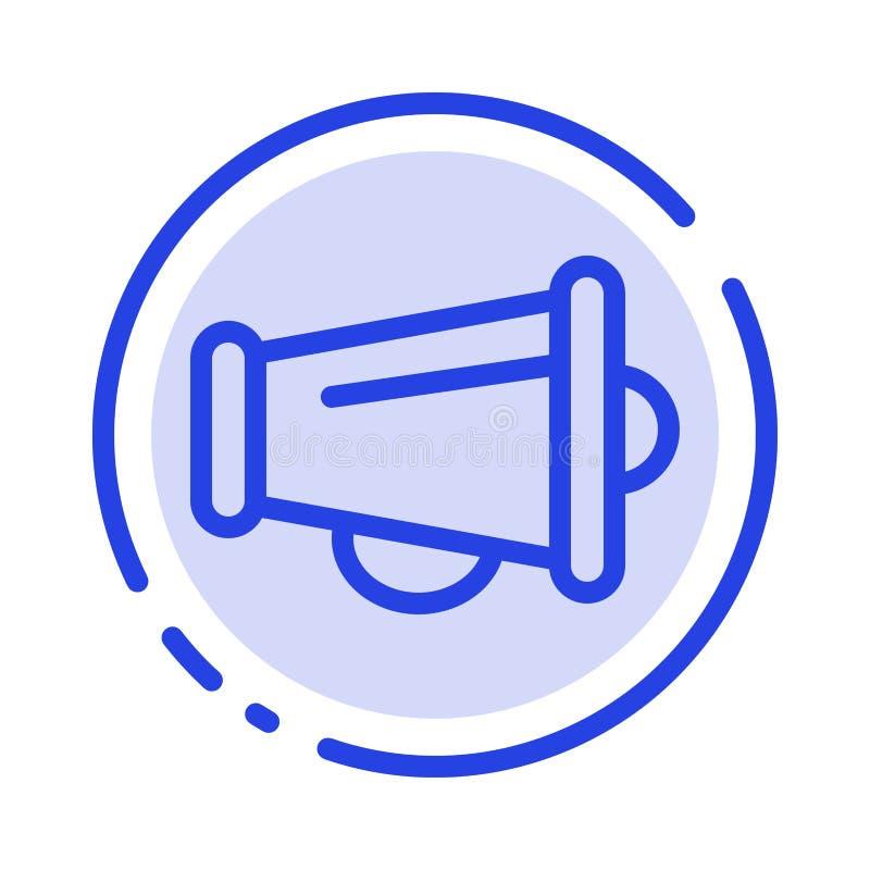 Le mégaphone, annoncent, vente, ligne pointillée bleue ligne icône de haut-parleur illustration stock