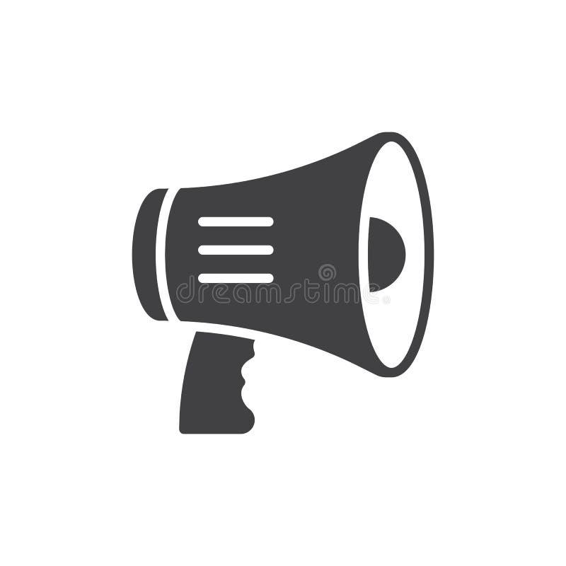 Le mégaphone, vecteur d'icône de corne de brume, a rempli signe plat, pictogramme solide d'isolement sur le blanc illustration de vecteur