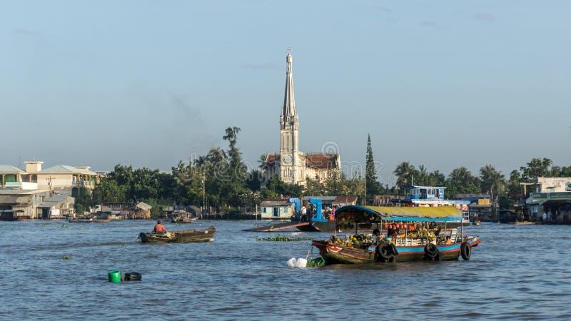 Le Mékong, Vietnam - 29 novembre 2015 : L'église catholique dans le delta du Mékong, Vietnam Le delta du Mékong est la région dan image stock