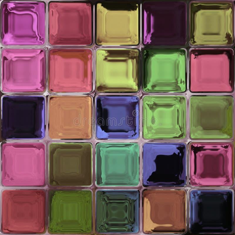 Le mélange des tuiles colorées sur le rouge a souillé le fond avec le cadre de parchemin à la frontière avec la texture grunge de illustration de vecteur