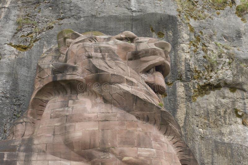 Le mémorial de lion a appelé Lion de Belfort, dans des Frances de Belfort photographie stock libre de droits