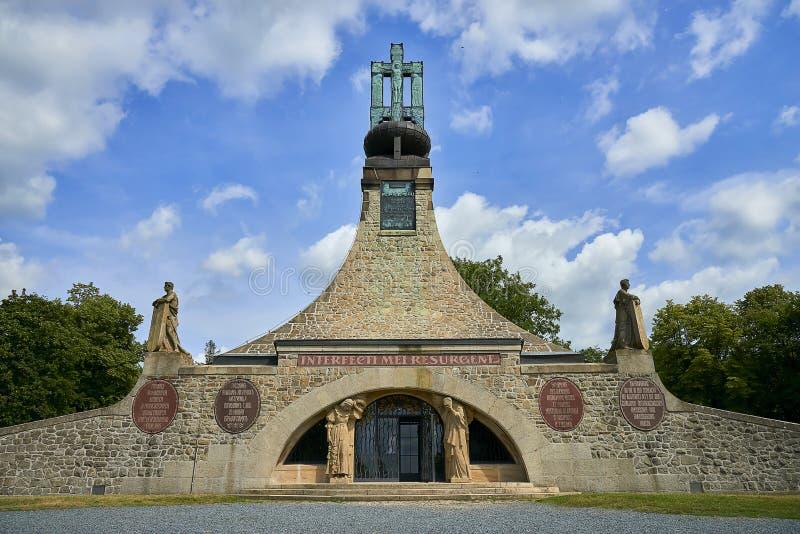 Le mémorial de paix sur Prace, République Tchèque Un petit musée commémore la bataille d'Austerlitz images libres de droits