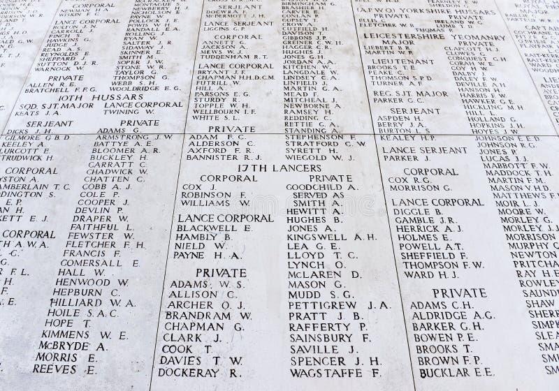 Le mémorial de porte de Menin aux disparus photos libres de droits