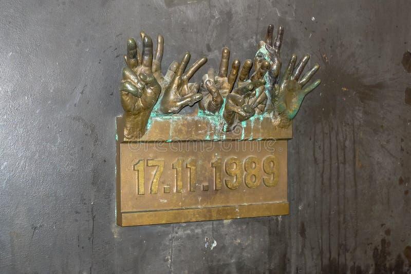 Le mémorial de révolution de velours dans la République Tchèque de Prague image stock