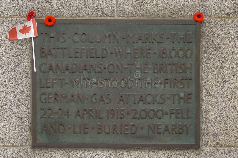 Le mémorial WW1 canadien près de Ypres photographie stock libre de droits
