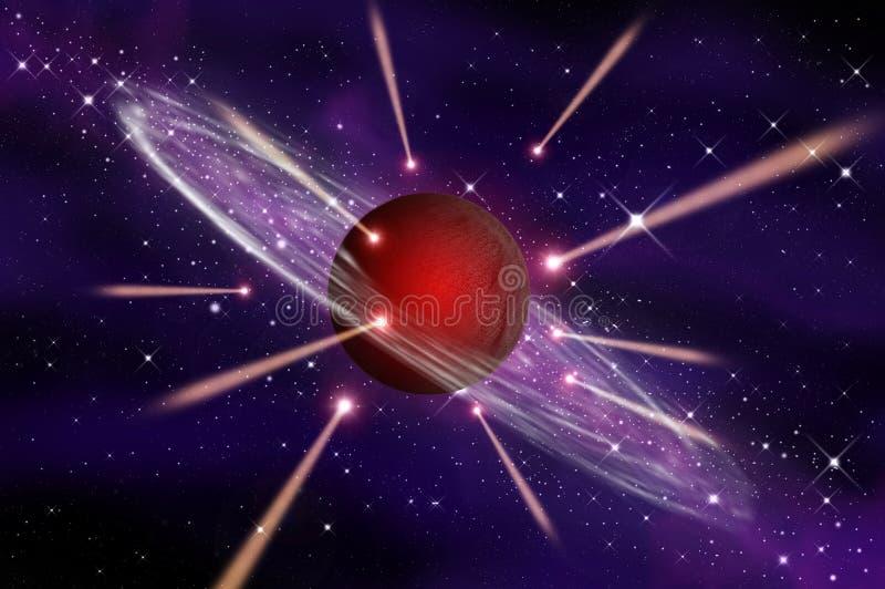 Le météore vont à la grande planète rouge de gaz illustration stock