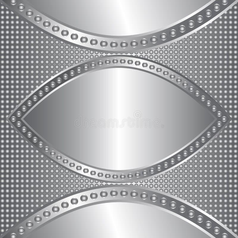 Le métal brillant entoure la bannière argentée avec le modèle pointillé illustration stock