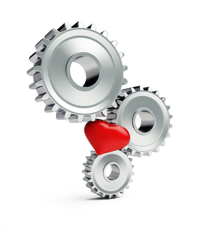 Le métal embraye le coeur rouge sur une illustration blanche du fond 3D, le rendu 3D illustration stock