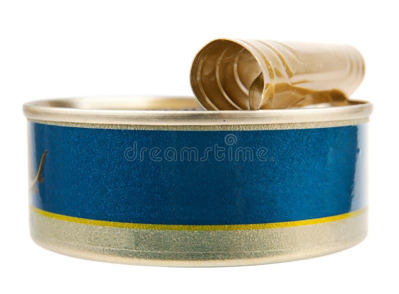 Le métal peut pour des fruits de mer photographie stock libre de droits