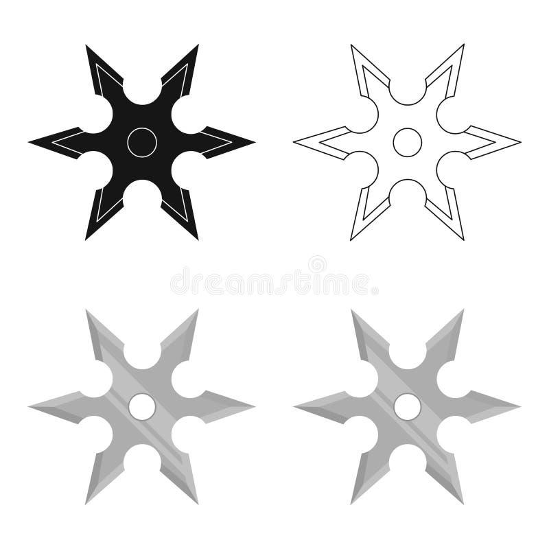 Le métal shuriken la bande dessinée d'icône Icône simple d'arme des grandes munitions, bras réglés illustration de vecteur