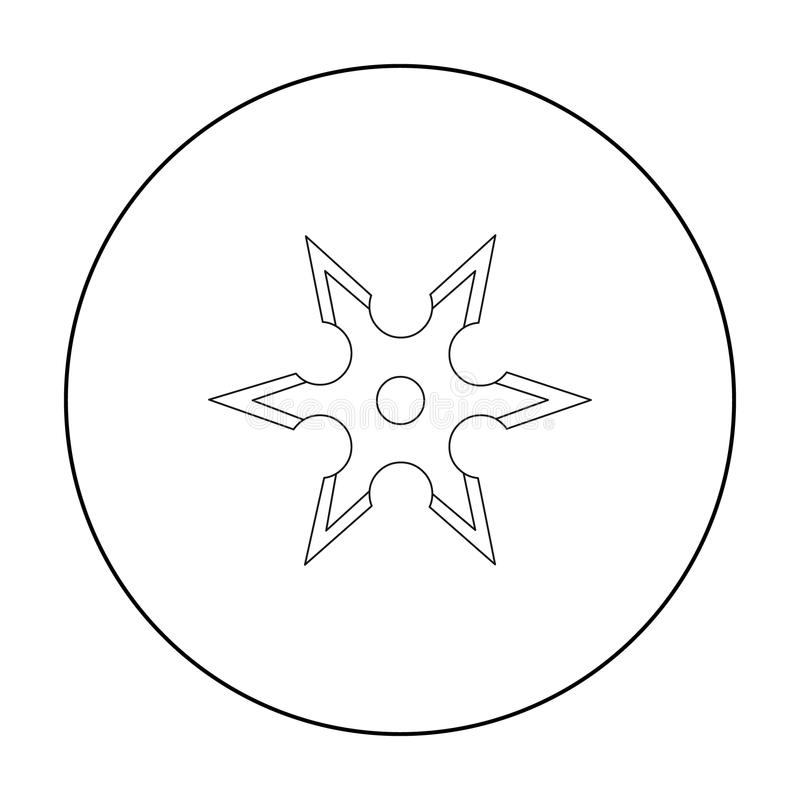 Le métal shuriken le contour d'icône Icône simple d'arme des grandes munitions, bras réglés illustration de vecteur