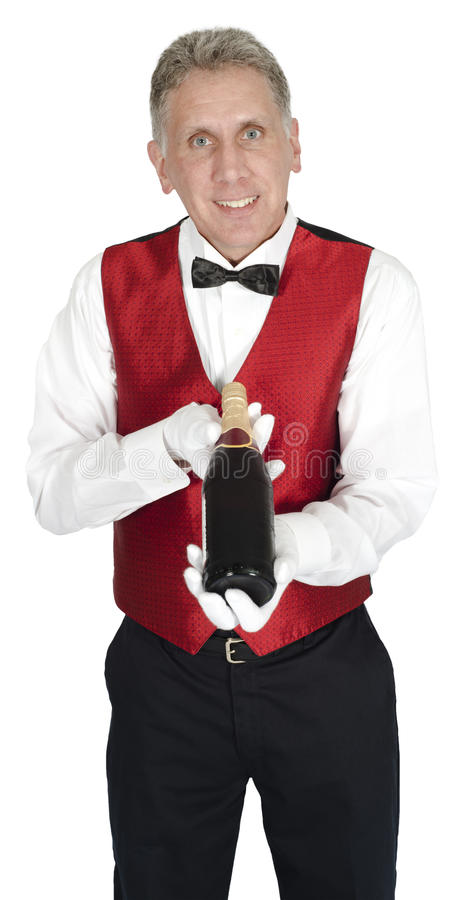 Le maître d'hôtel de fantaisie Holding Wine Bottle a isolé photographie stock