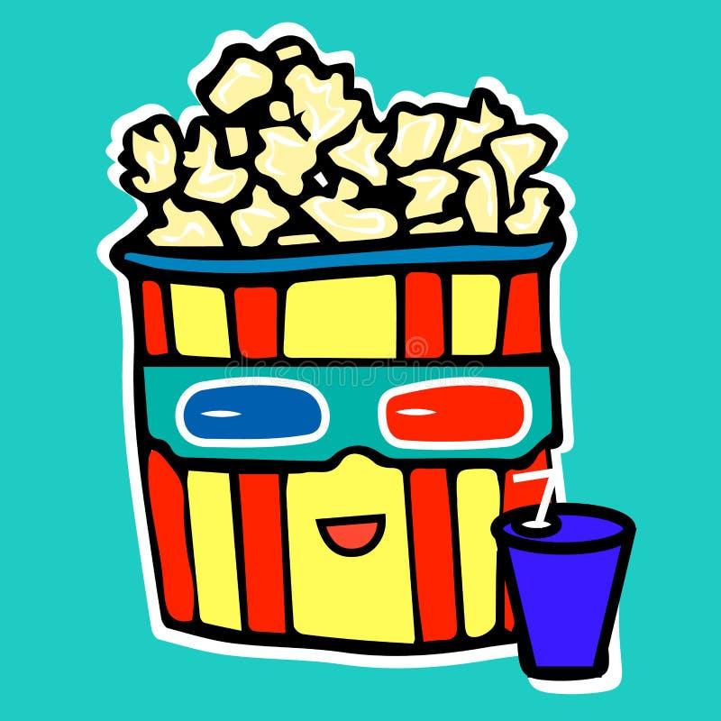 Le maïs éclaté boit du kola tout en observant un film dans a illustration de vecteur