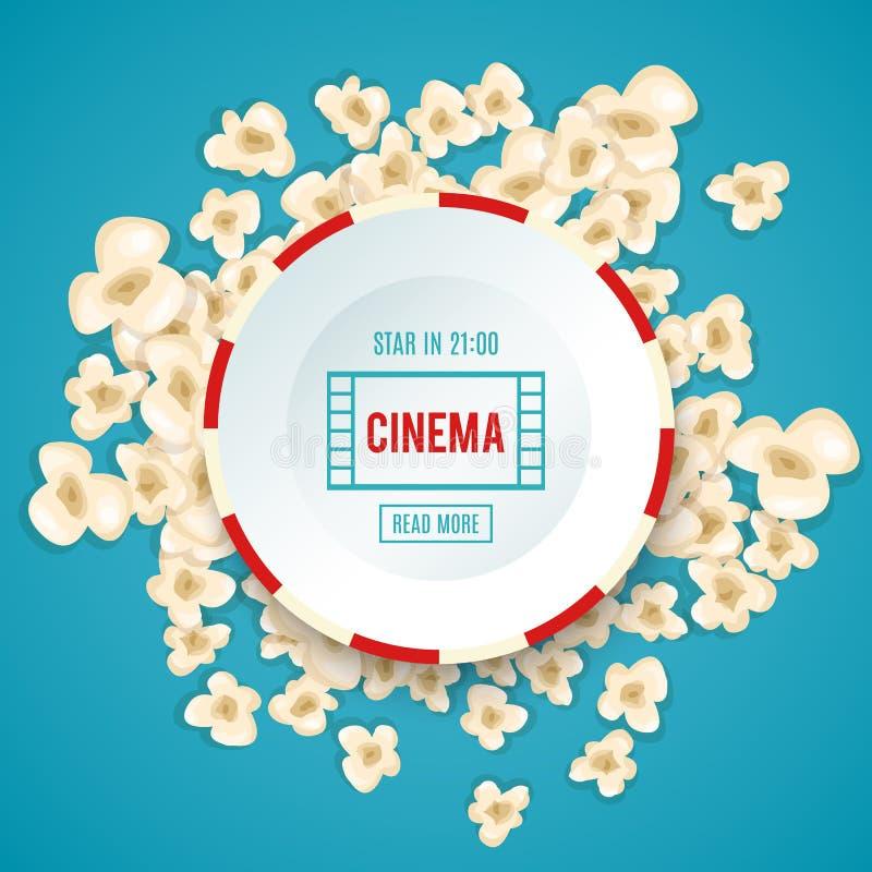 Le maïs éclaté de tas pour le film se trouve sur le fond bleu illustration de vecteur