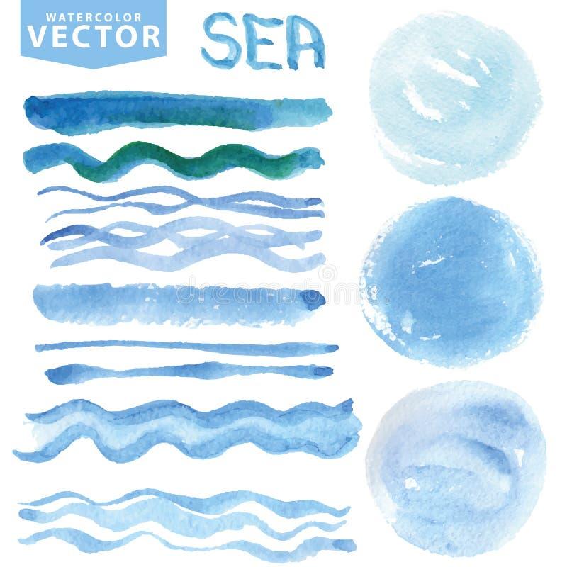 Le macchie dell'acquerello, spazzole, ondeggia Mare blu, oceano Insieme di estate illustrazione vettoriale